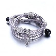 b9b216d7807 Pulsera Piel de Serpiente y Cristal Swarovski Elements Plata 49.00€ 90.00€. Pulsera  Cuero Blanca Perlas y Charms ...