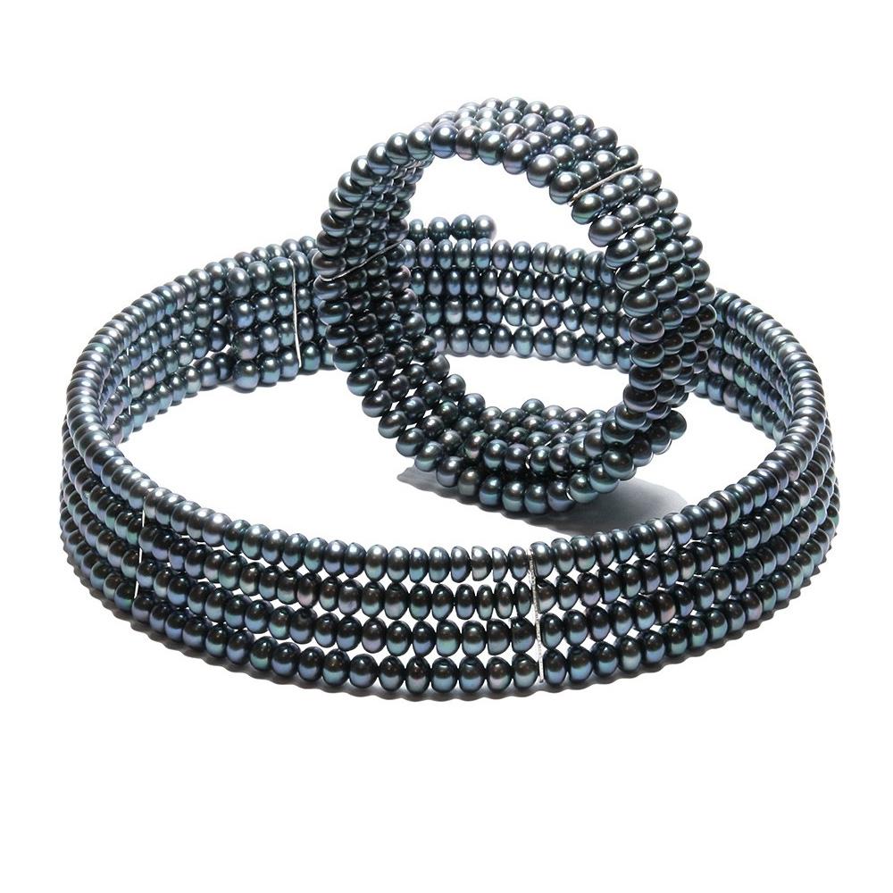 Parure Collier et Bracelet 4 rangs Perles de Culture Noires