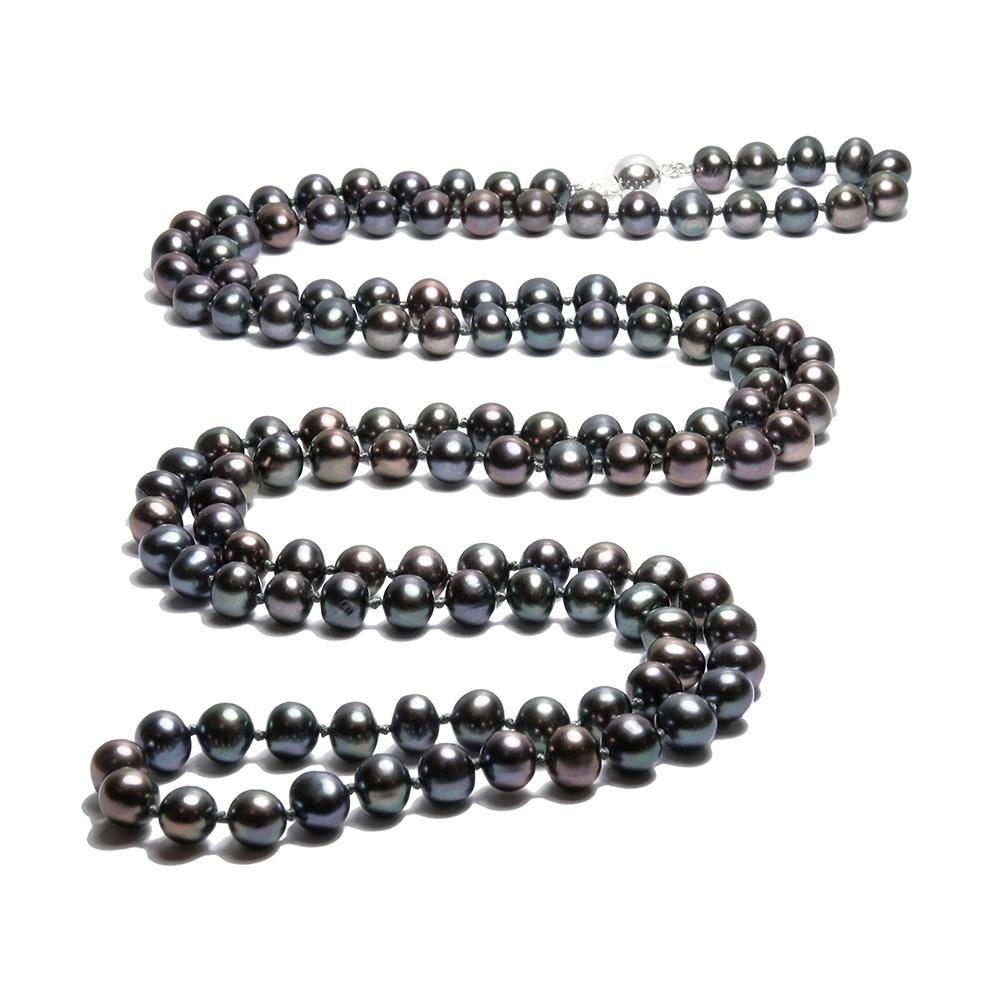 Collier Sautoir Perles de culture Noires 91 cm et Argent 925