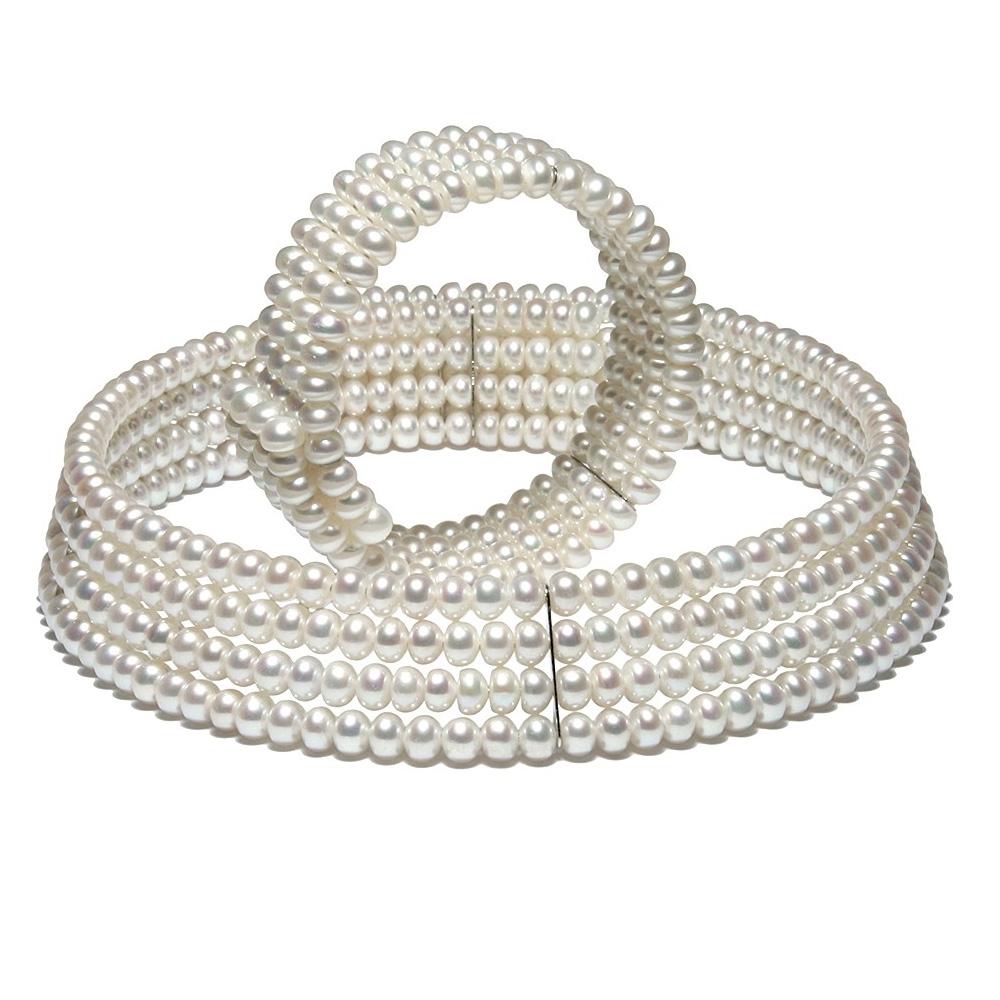 Schmucksets - Schmuckset 4 rangige Halskette und Armband mit weißen Zuchtperlen  - Onlineshop Blue Pearls