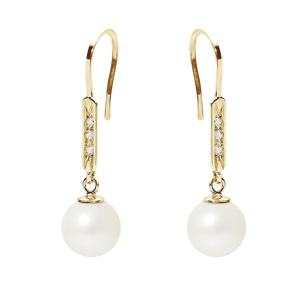 Ohrringe für Frauen - Hakenohrringe Süßwasser Zuchtperlen,Diamanten, Gelbgold 750 1000  - Onlineshop Blue Pearls