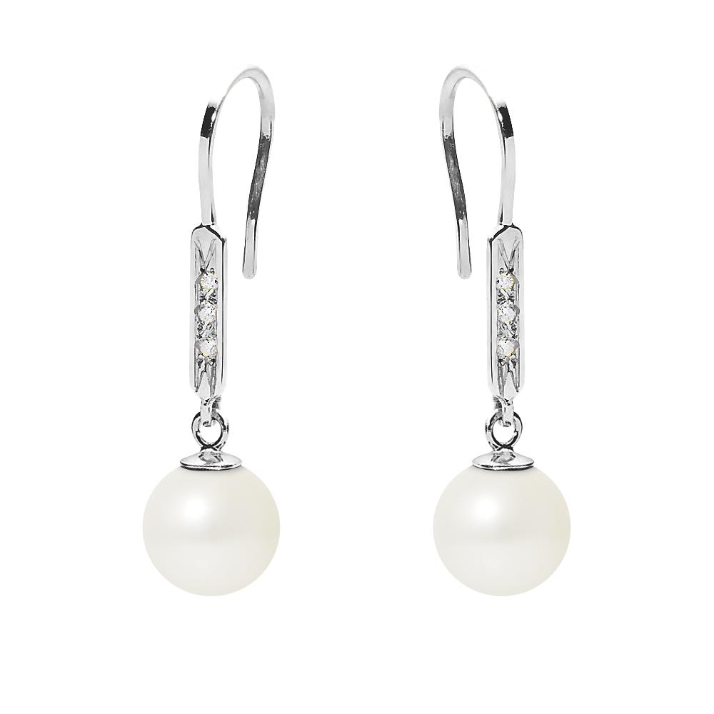 Ohrringe für Frauen - Hakenohrringe Süßwasser Zuchtperlen,Diamanten, Weißgold 750 1000  - Onlineshop Blue Pearls