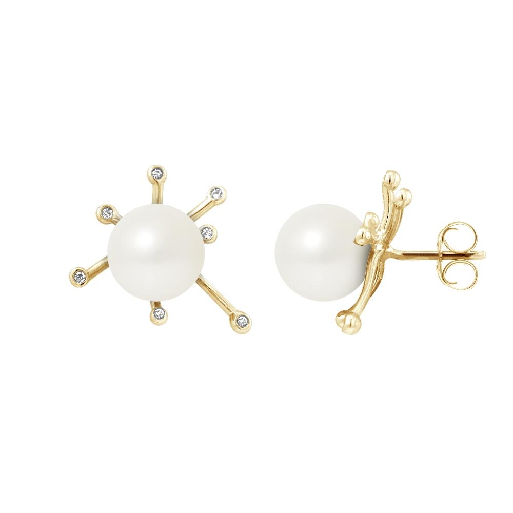 Ohrringe für Frauen - Ohrringe Süßwasser Zuchtperlen,Diamanten, Gelbgold 750 1000  - Onlineshop Blue Pearls