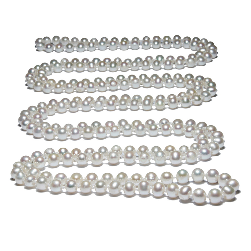 Collier Sautoir Perles de culture blanches 162 cm