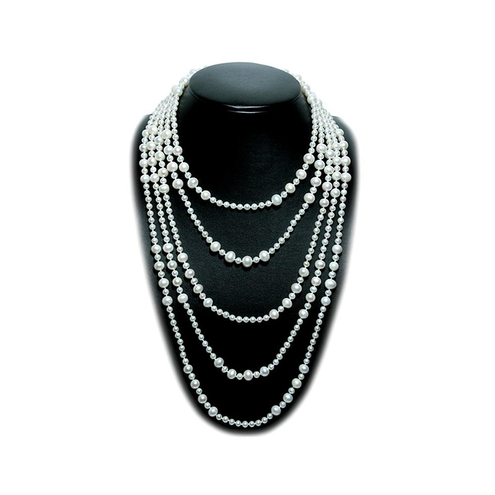 Ketten - Sautoir Perlenkette 300 cm lang mit weißen Zuchtwasserperlen  - Onlineshop Blue Pearls