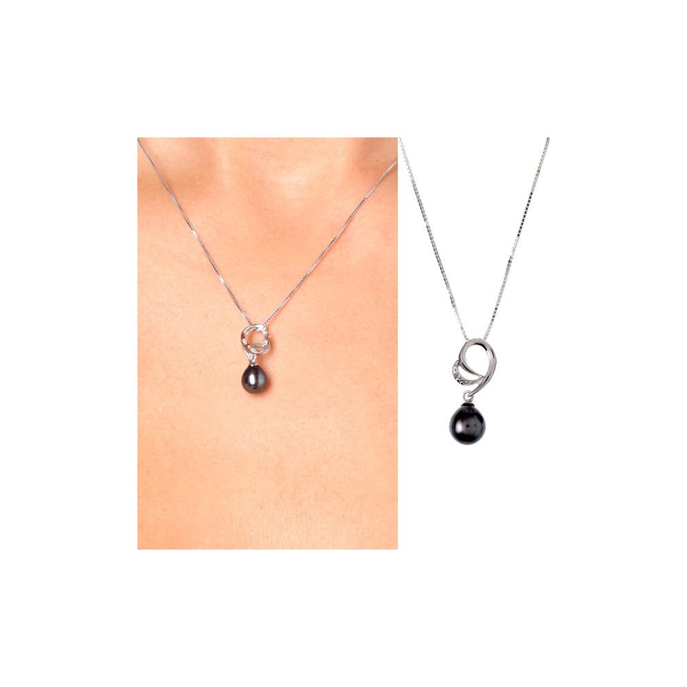 pendentif perle de culture pierres cz et argent 925 pendentifs blue pearls. Black Bedroom Furniture Sets. Home Design Ideas