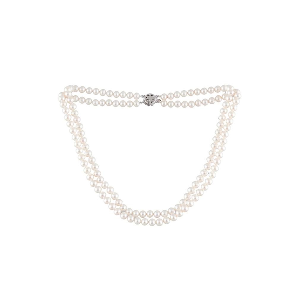 Ketten - 2 rangige Perlenhalskette mit weißen Zuchtperlen  - Onlineshop Blue Pearls
