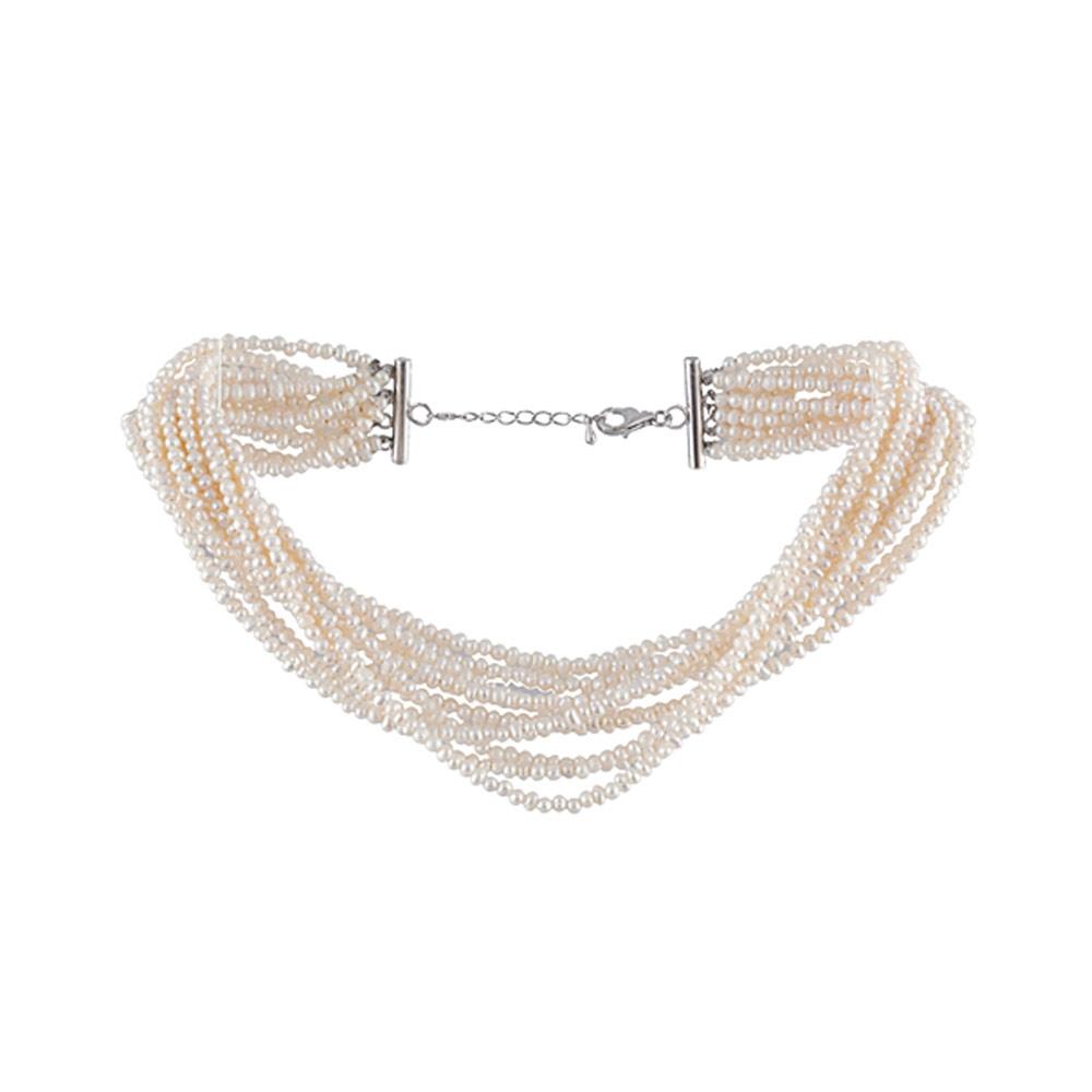 e408f61f1af Collier Ras-du-cou 12 rangs Perles de culture blanc et Argent 925 -  Colliers - Blue Pearls