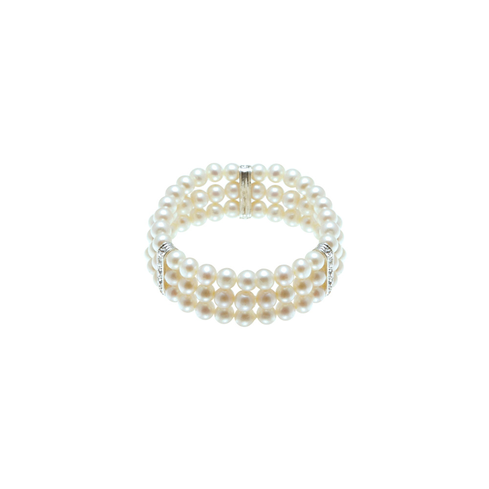 100 White Freshwater Pearl and Cz Stone Stretchy Bracelet