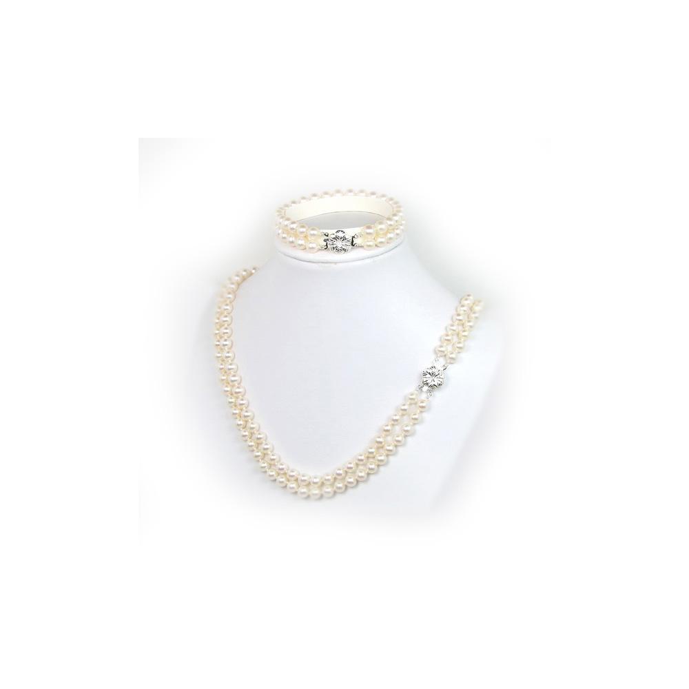 Schmucksets für Frauen - Schmuckset Kette und Armband 2 rangig mit weißen Süßwasserzuchtperlen  - Onlineshop Blue Pearls