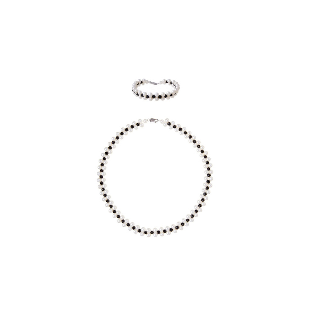 Schmucksets - Halskette und Armband weiße Zuchtperlen und schwarze Kristalle  - Onlineshop Blue Pearls