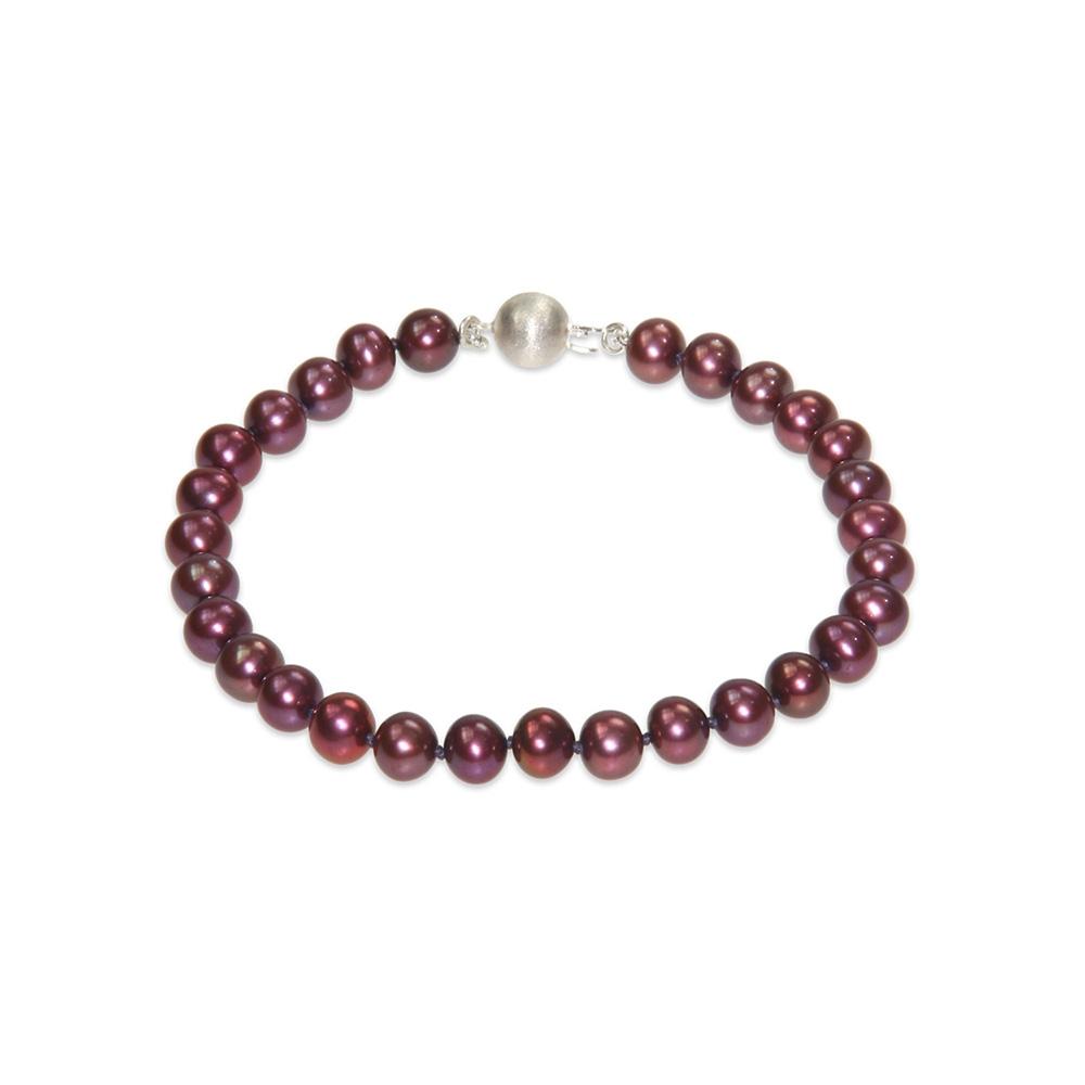 Bracelet Perles de culture Rouge Cranberry et Fermoir en Argent 925