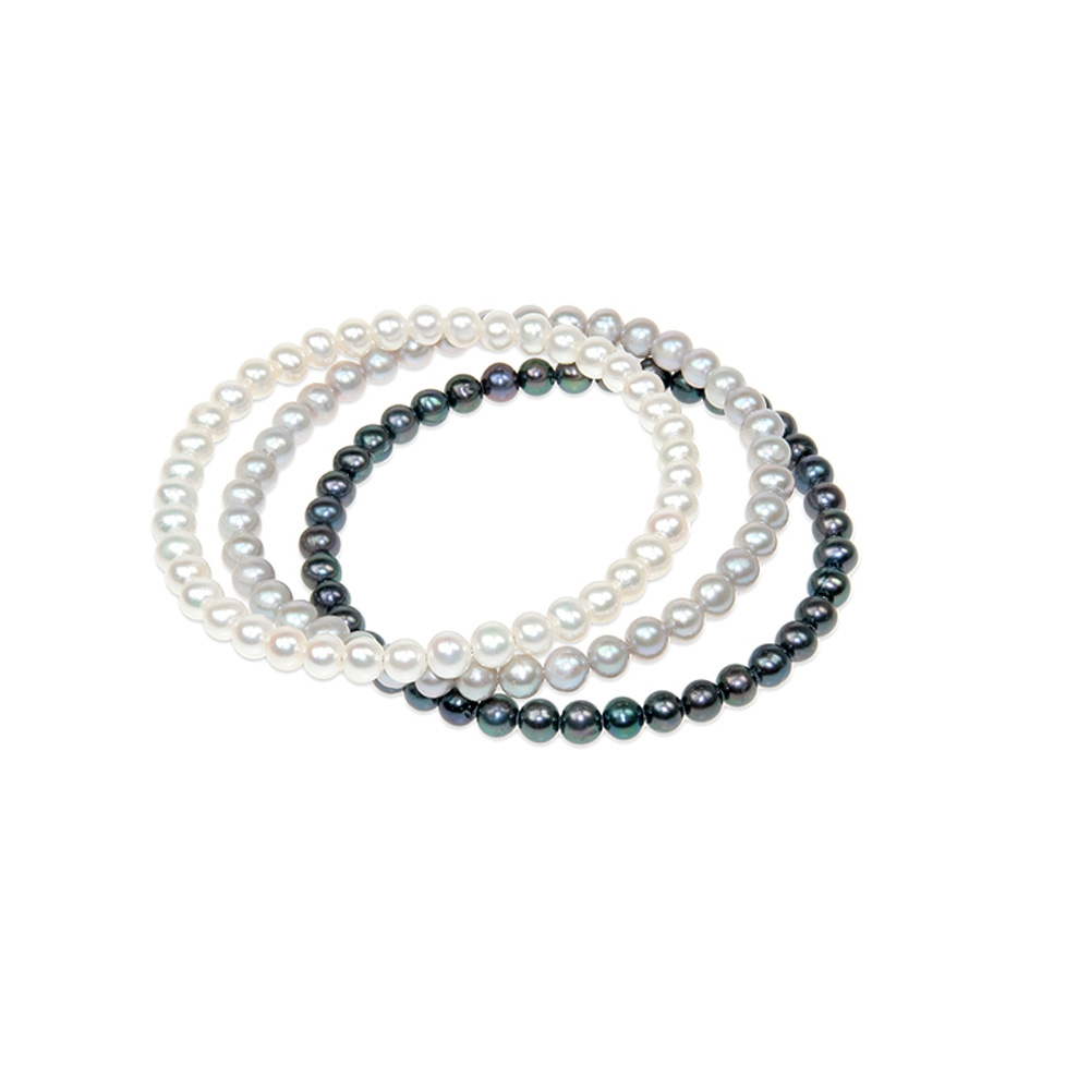 Triple Bangle Bracelet en perles de culture Blanc Argent et Noir
