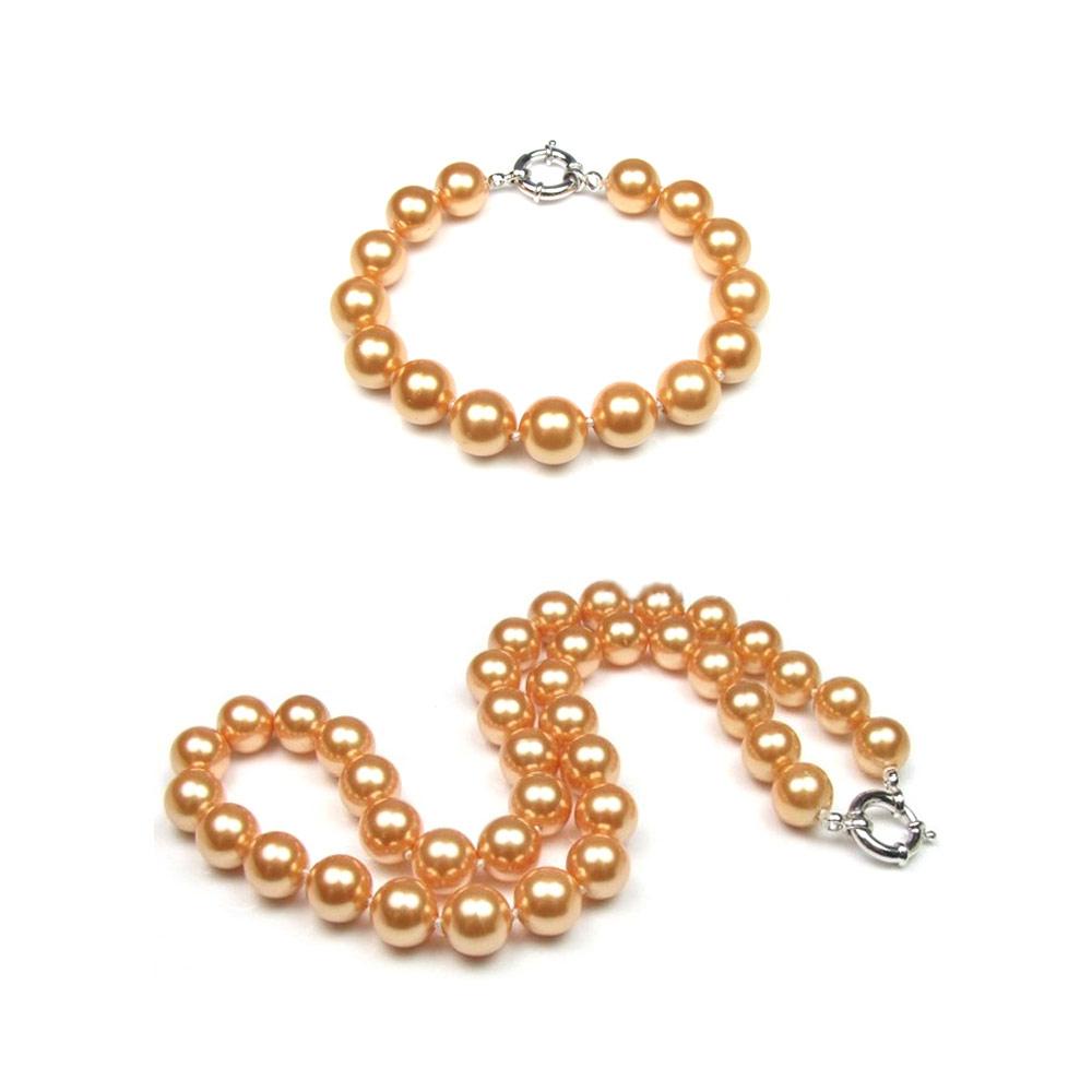 Schmucksets - Schmuckset Goldfarbene Perlenhalskette und Armband mit 925 Sterlingsilber Verschluss  - Onlineshop Blue Pearls
