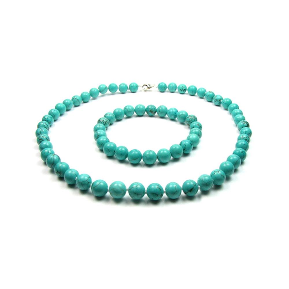 Schmucksets für Frauen - Schmuckset Halskette Armband mit türkisfarbenen Perlen  - Onlineshop Blue Pearls