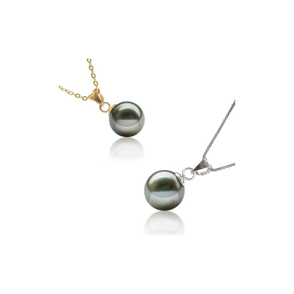 10mm Black Tahitian Pearl Pendant and 14K solid yellow Gold Mounting