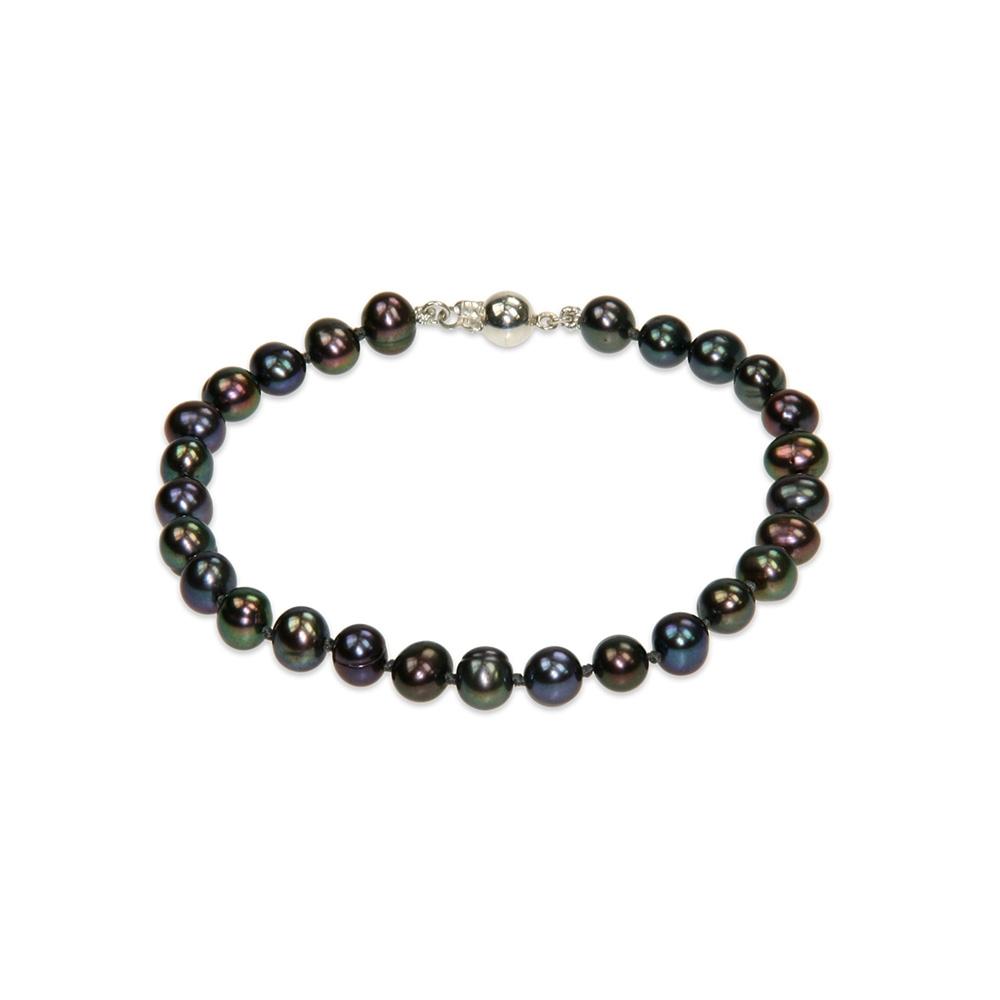 Bracelet Perles de culture Noires et Fermoir Argent 925