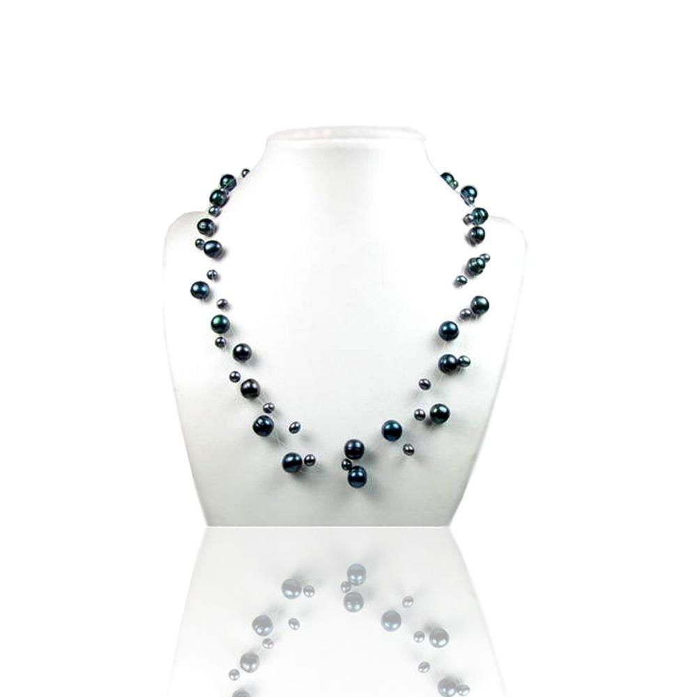 Ketten - 3 strangige Halskette mit weißen Süßwasserzuchtperlen unterschiedlicher Größe  - Onlineshop Blue Pearls