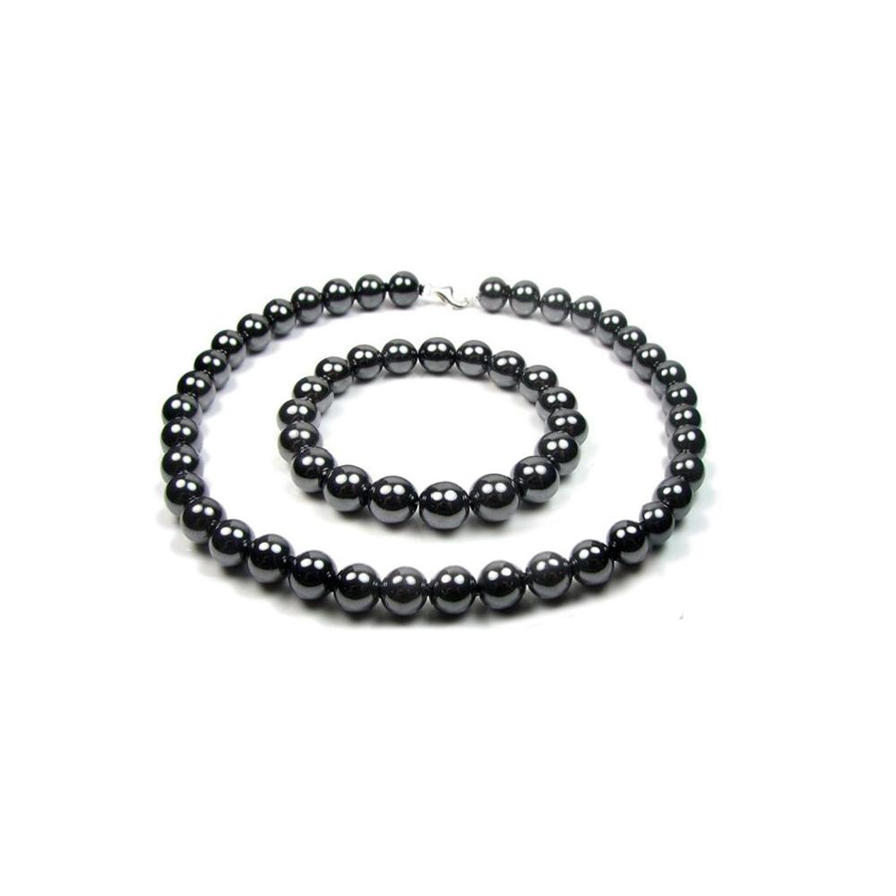 Schmucksets - Schmuckset Hämatit Perlen Halskette und Armband Schwarz und 925 Sterlingsilber  - Onlineshop Blue Pearls