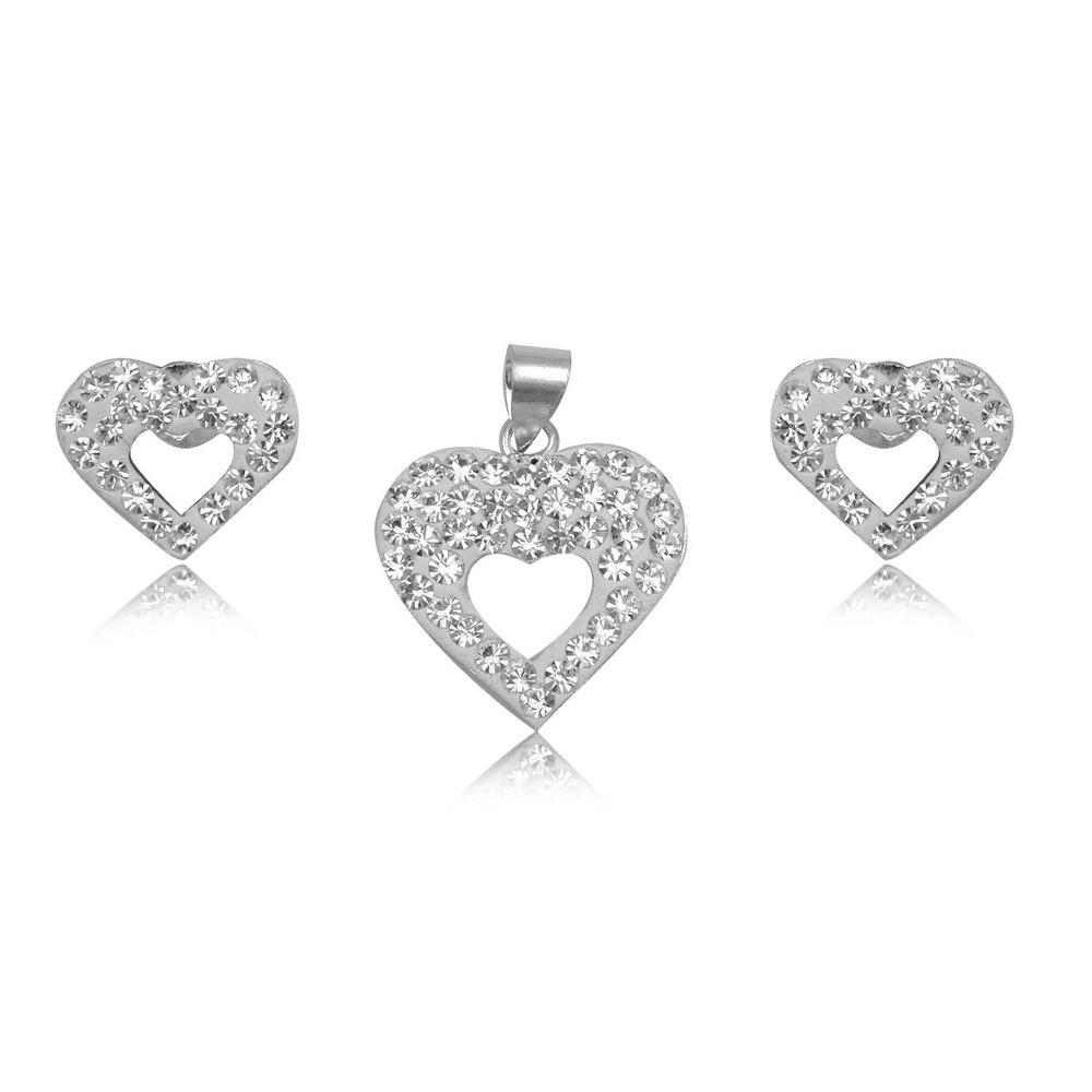 Schmucksets - Set Anhänger und Herz Ohrringe mit weißem Kristall und 925 Sterlingsilber  - Onlineshop Blue Pearls