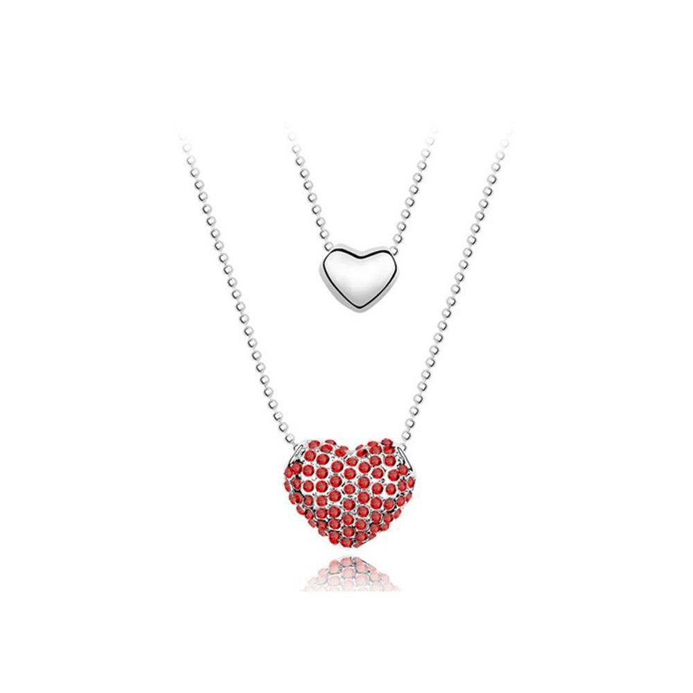Ketten - Doppelter Herz Anhänger mit rosafarbenen Swarovski Elements  - Onlineshop Blue Pearls
