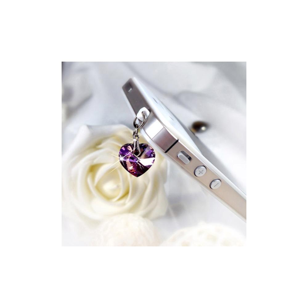 Accessoire Bijoux SmartPhone Coeur en Cristal de Swarovski Elements Violet