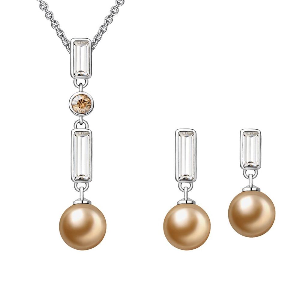 Schmucksets - Schmuckset Anhänger und Ohrringe Perle und Weiss Kristall Swarovski Elements  - Onlineshop Blue Pearls