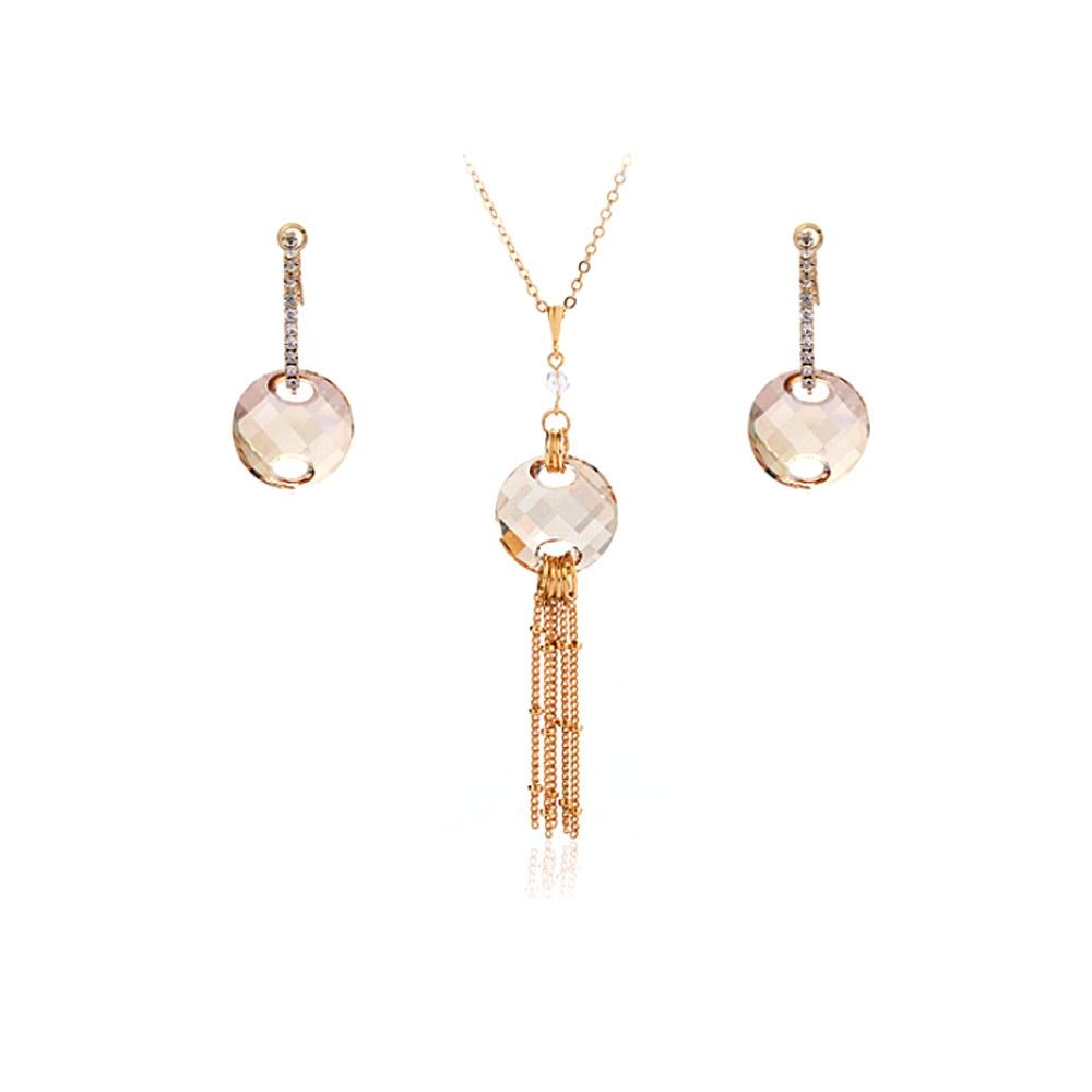 Schmucksets - Schmuckset Vergoldete Halskette und Hänge Ohrringe mit weißen Swarovski Elements  - Onlineshop Blue Pearls