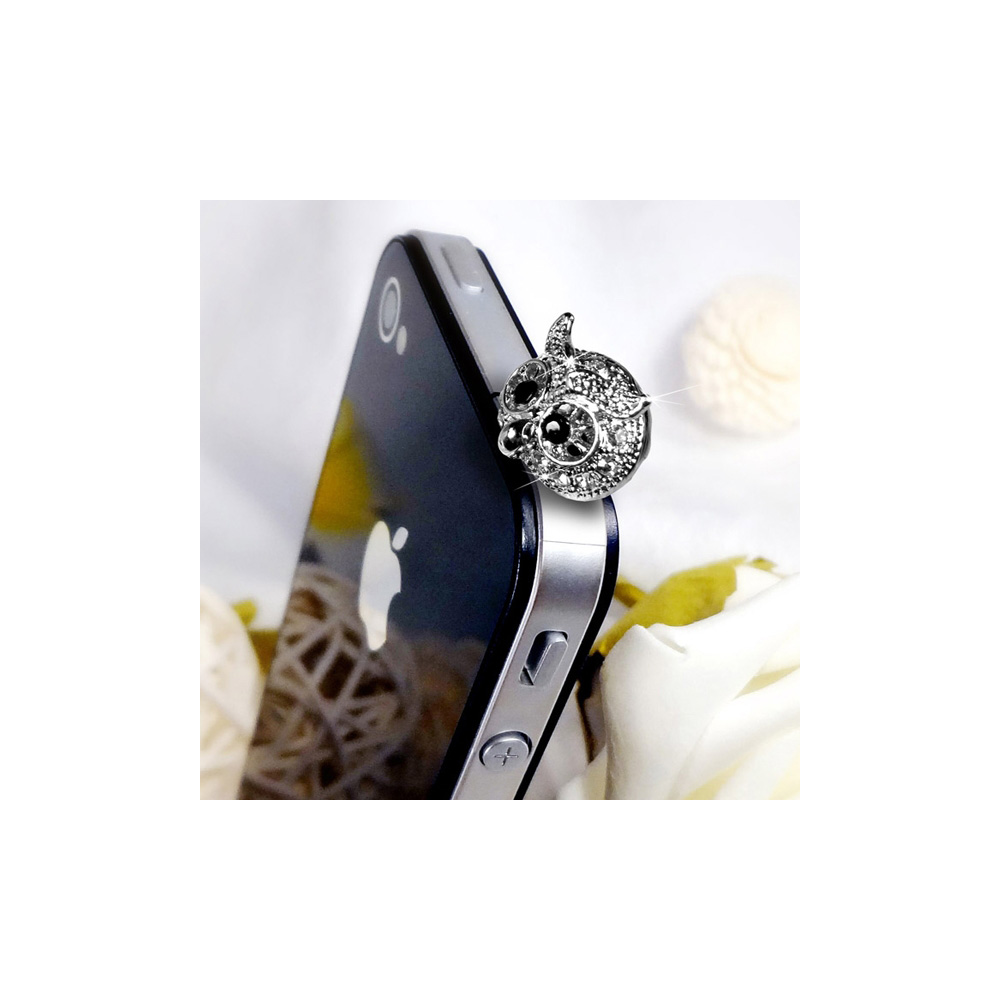 Accessoire Bijoux SmartPhone Hibou Argent et Cristal Blanc