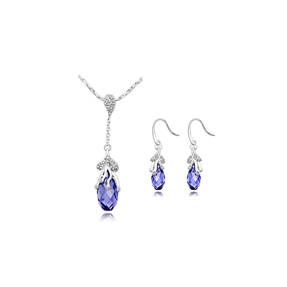 Schmucksets - Schmuckset Rhodiumplattierter Tropfen Anhänger und Ohrringe mit violetten Swarovski Elements  - Onlineshop Blue Pearls