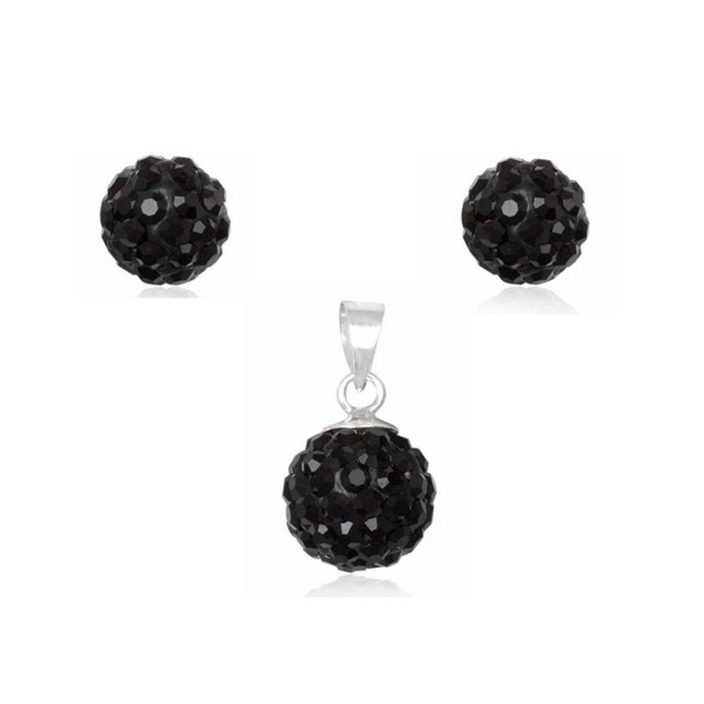 Schmucksets - Set Anhänger und Ohrringe aus schwarzem Kristall und 925 Sterlingsilber  - Onlineshop Blue Pearls