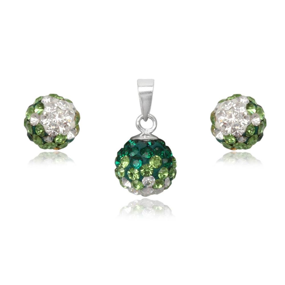 Schmucksets - Set Anhänger und grüne Kristall Ohrringe und 925 Sterlingsilber  - Onlineshop Blue Pearls