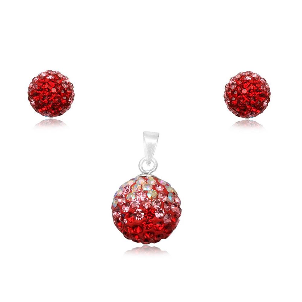 Schmucksets - Set Anhänger und Ohrringe Roter Kristall und 925 Sterlingsilber  - Onlineshop Blue Pearls