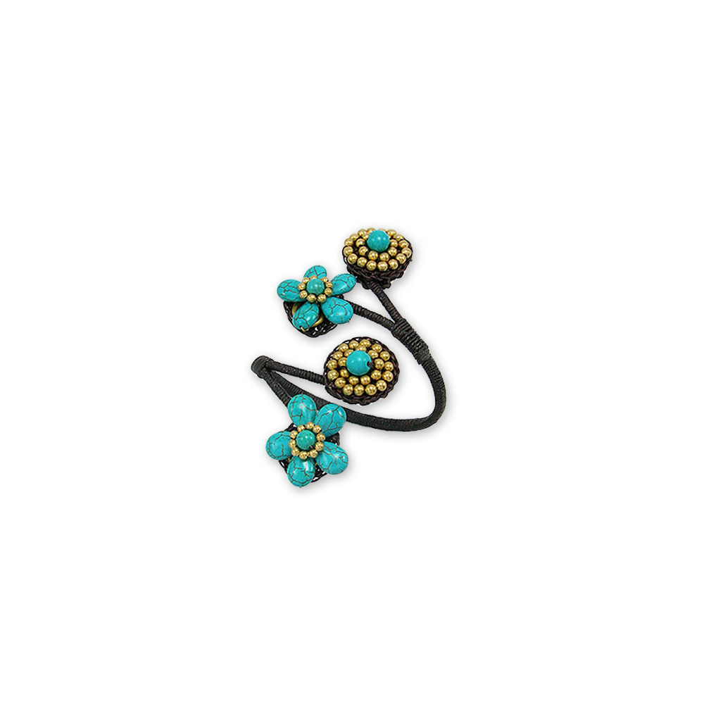 flowers-turquoise-gemstones-and-brown-bracelet