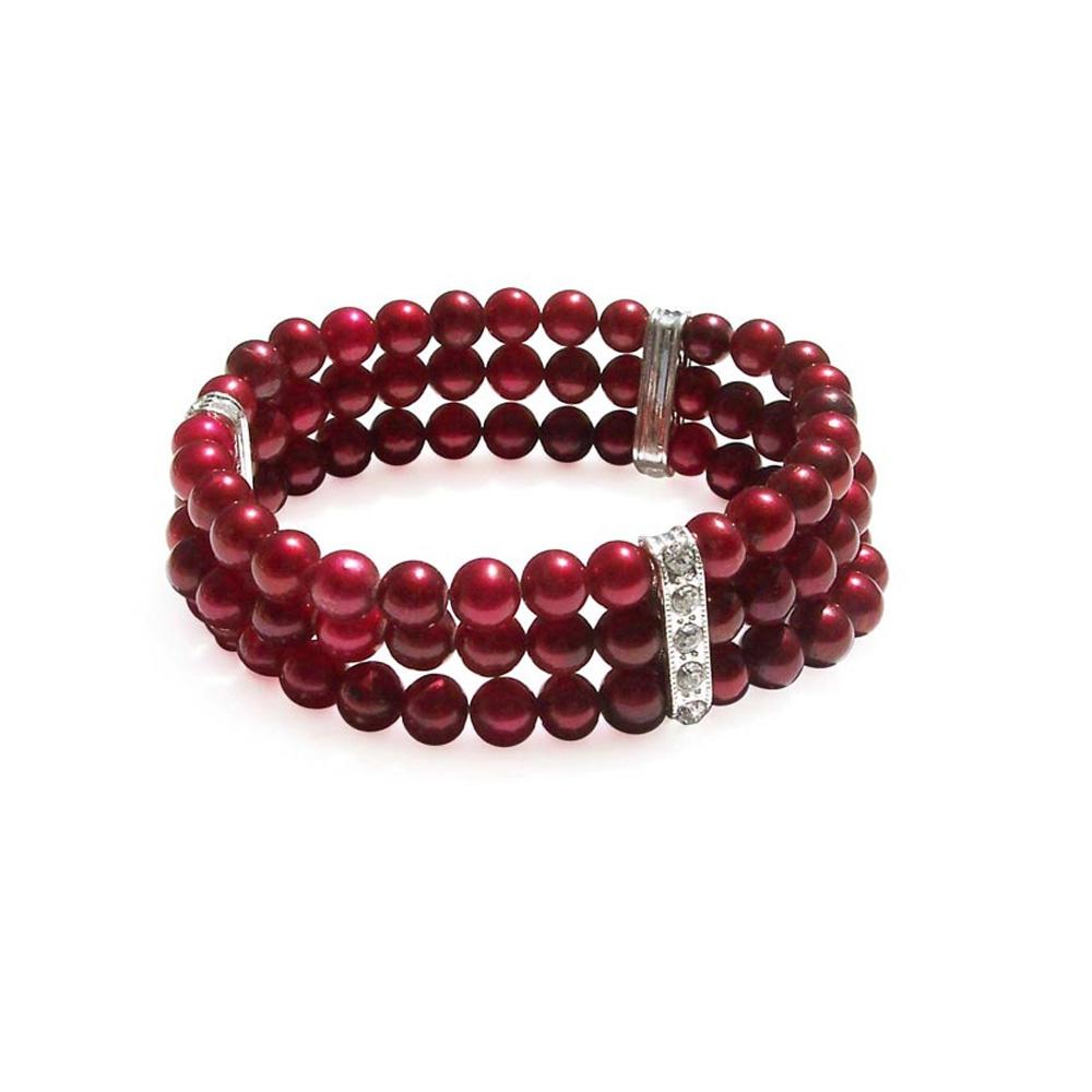 100-Perlen-Stretcharmband mit roten Zuchtperlen und Kubik-Zirkonia-Kristallen
