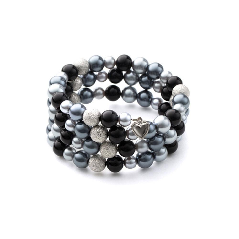 Armbaender für Frauen - 3 Rang Armband, rhodiumüberzogen mit schwarzen Perlen  - Onlineshop Blue Pearls