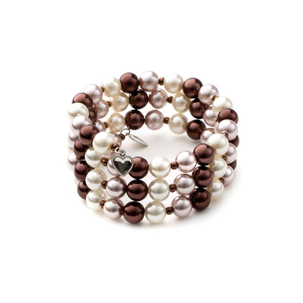 Armbaender für Frauen - 3 Rang Armband, rhodiumüberzogen mit braunen Perlen  - Onlineshop Blue Pearls