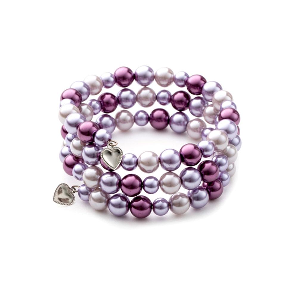 Armbaender für Frauen - 3 Rang Armband, rhodiumüberzogen mit rosafarbenen Perlen  - Onlineshop Blue Pearls