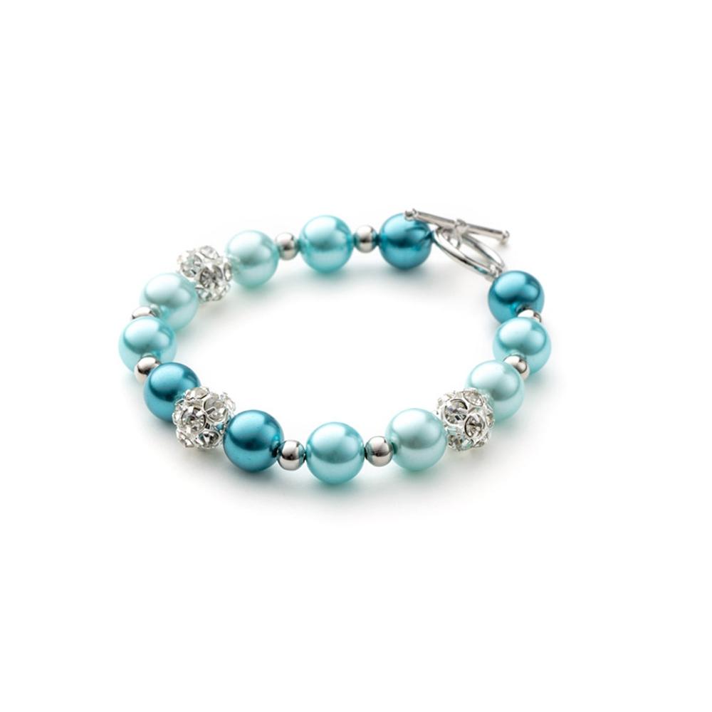 Armbaender für Frauen - 1 Rang Armband, rhodiumüberzogen mit blauen Perlen und weißen Kristallen  - Onlineshop Blue Pearls