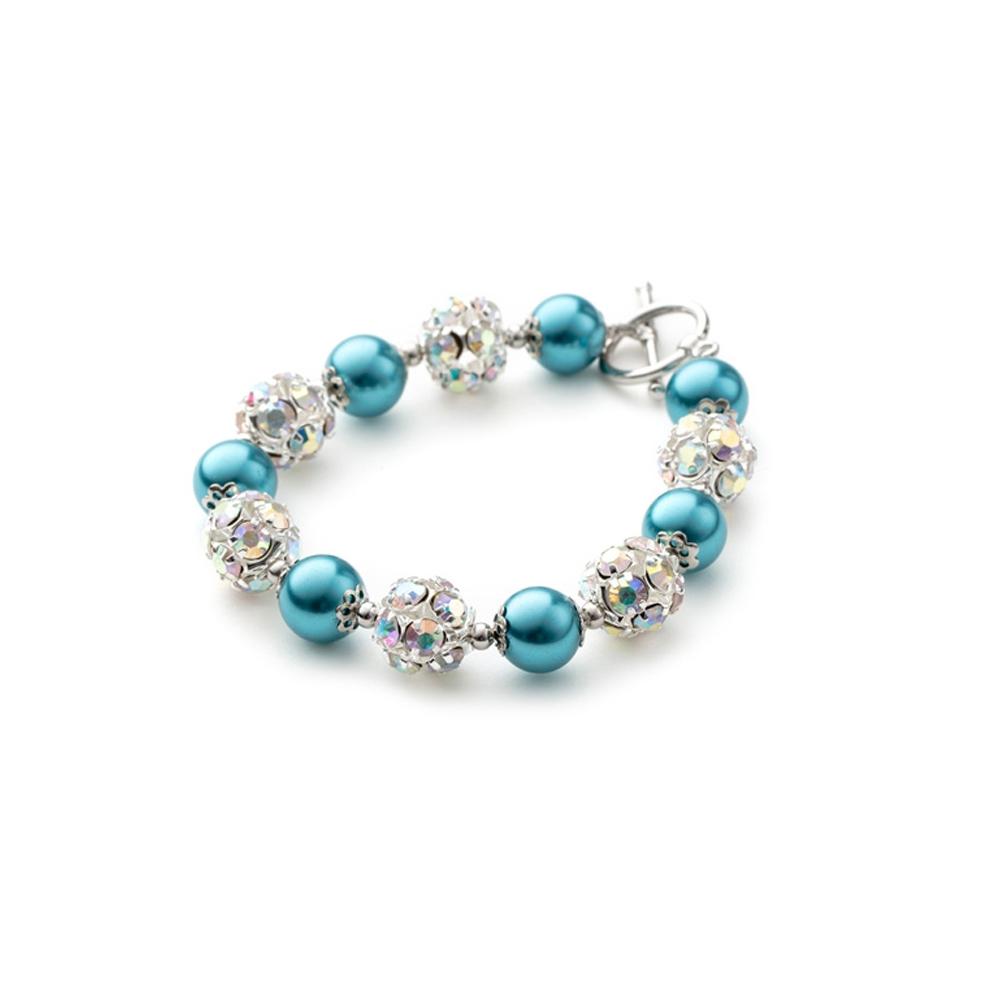 Armbaender für Frauen - 1 Rang Armband, rhodiumüberzogen mit hellblauen Perlen und weißen Kristallen  - Onlineshop Blue Pearls