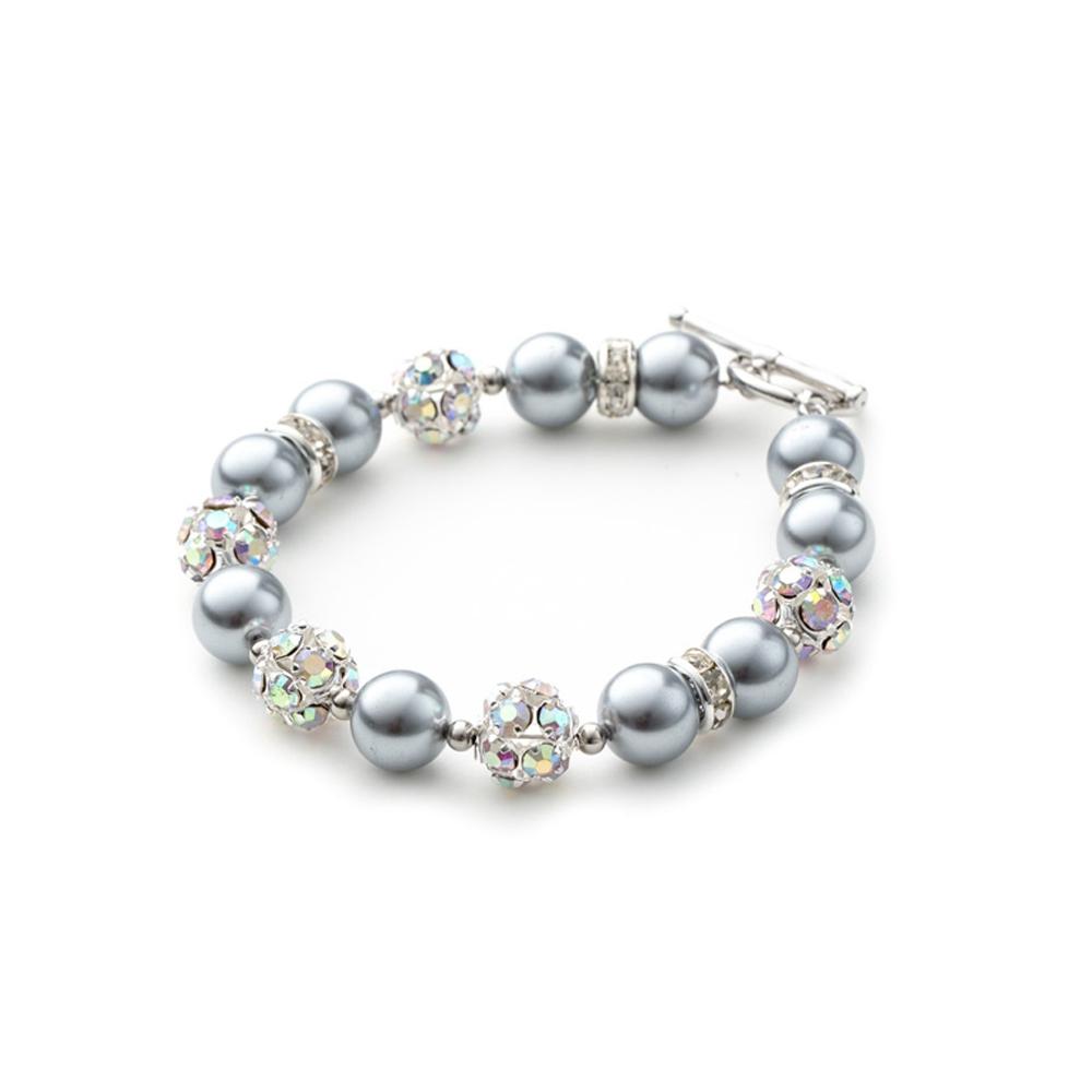 Armbaender für Frauen - 1 Rang Armband, rhodiumüberzogen mit silbernen Perlen und weißen Kristallen  - Onlineshop Blue Pearls