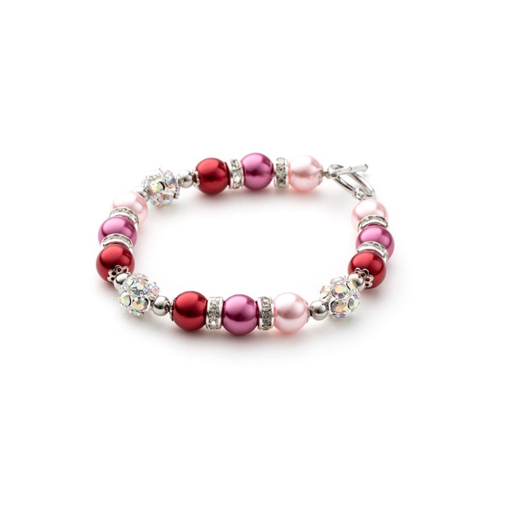Armbaender für Frauen - 1 Rang Armband, rhodiumüberzogen mit rosafarbenen Perlen und weißen Kristallen  - Onlineshop Blue Pearls