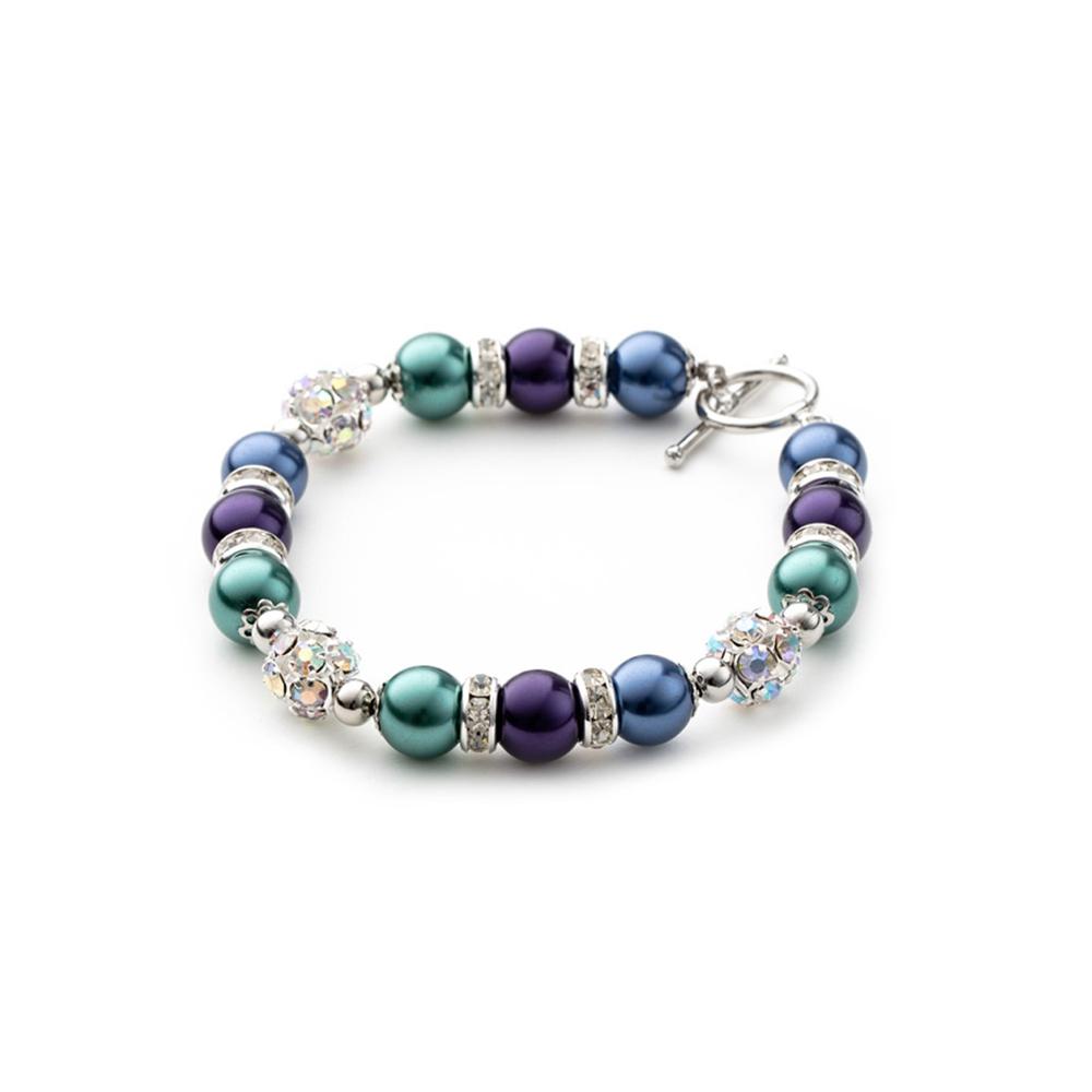 Armbaender für Frauen - 1 Rang Armband, rhodiumüberzogen mit blauen und violetten Perlen und weißen Kristallen  - Onlineshop Blue Pearls
