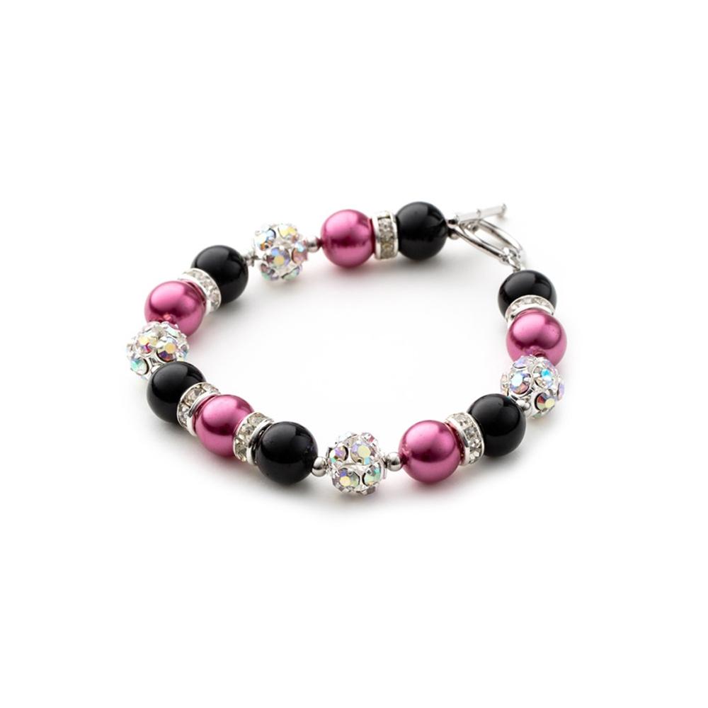 Armbaender für Frauen - 1 Rang Armband, rhodiumüberzogen mit schwarzen und rosafarbenen Perlen und weißen Kristallen  - Onlineshop Blue Pearls