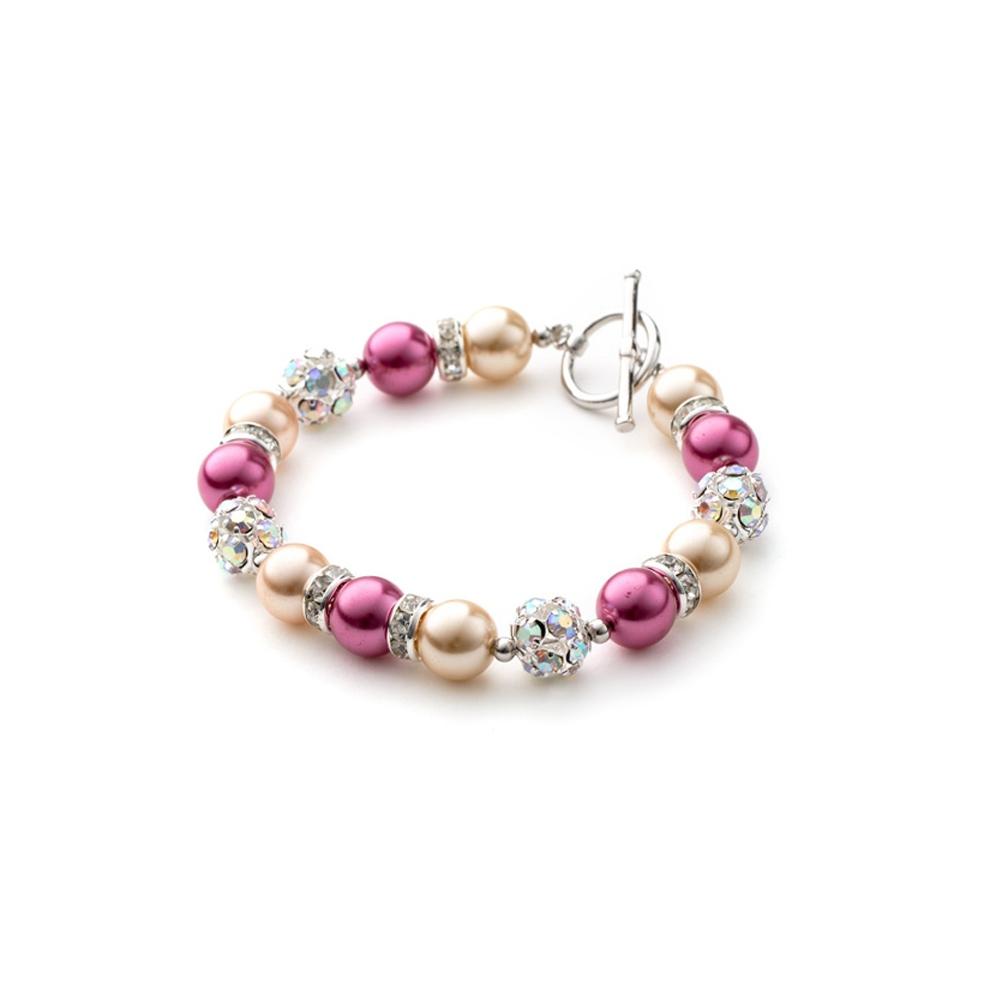 Armbaender für Frauen - 1 Rang Armband, rhodiumüberzogen mit schwarzen und orangenen Perlen und weißen Kristallen  - Onlineshop Blue Pearls