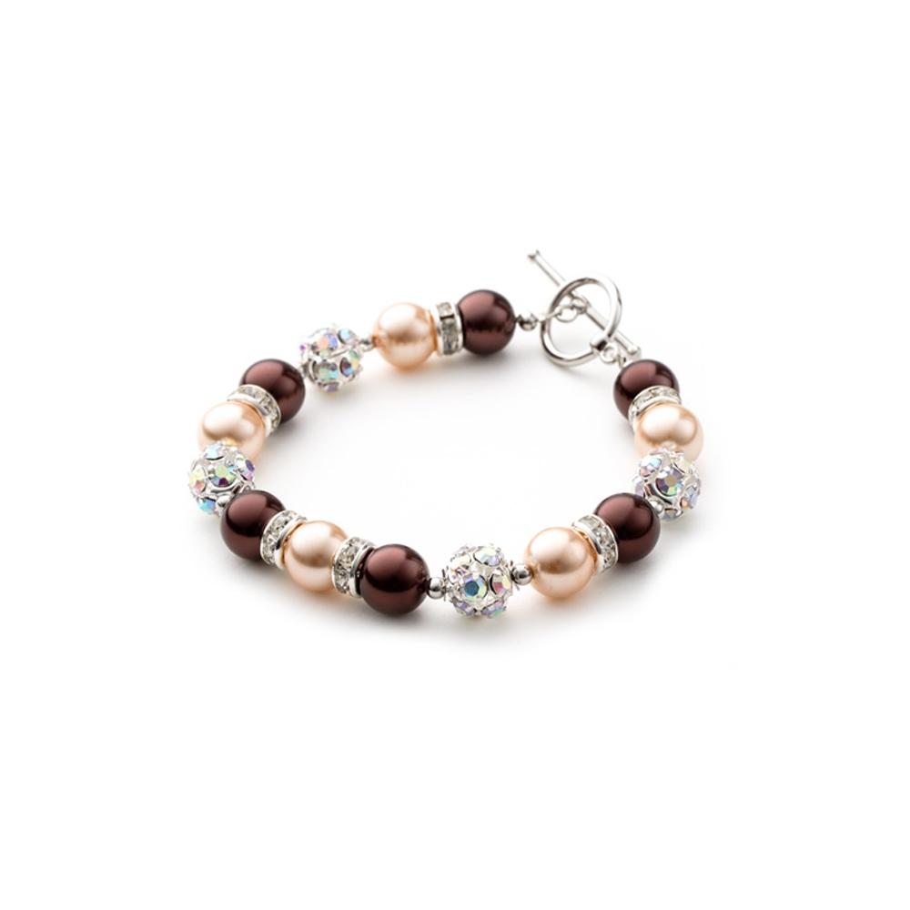Armbaender für Frauen - 1 Rang Armband, rhodiumüberzogen mit braunen Perlen und weißen Kristallen  - Onlineshop Blue Pearls