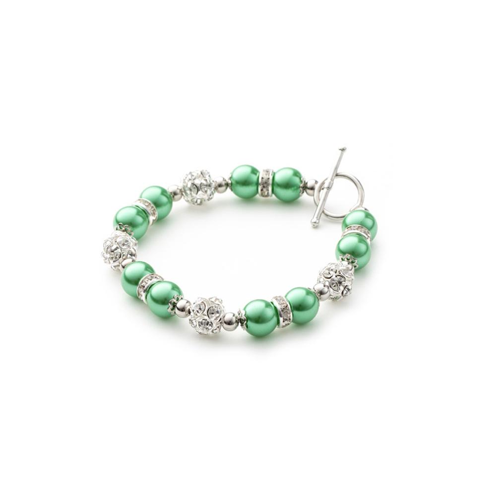 Armbaender für Frauen - 1 Rang Armband, rhodiumüberzogen mit grünen Perlen und weißen Kristallen  - Onlineshop Blue Pearls
