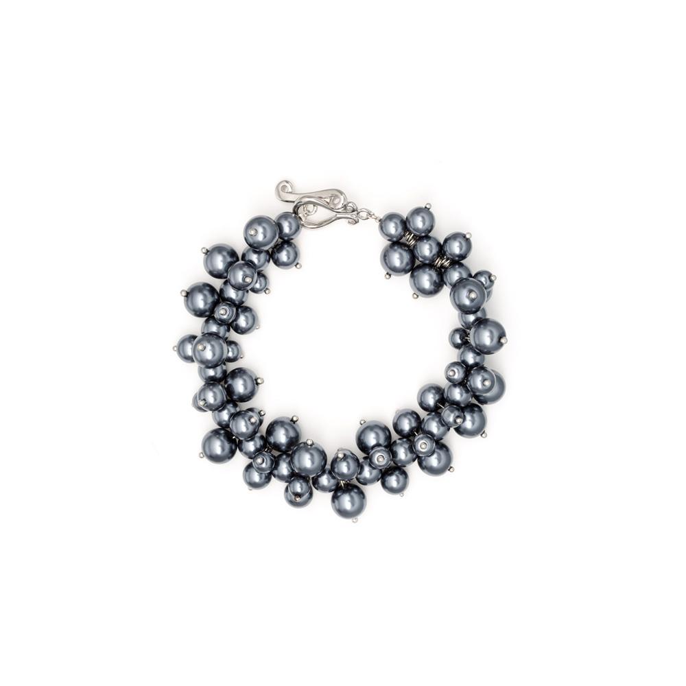 Armbaender für Frauen - Graues und goldenes Multi Perlen Armband  - Onlineshop Blue Pearls