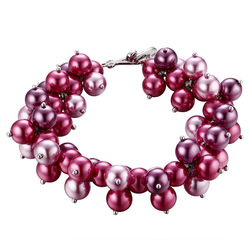 Armbaender für Frauen - Perlenarmband, rhodiumüberzogen mit rosafarbenen und roten Perlen  - Onlineshop Blue Pearls