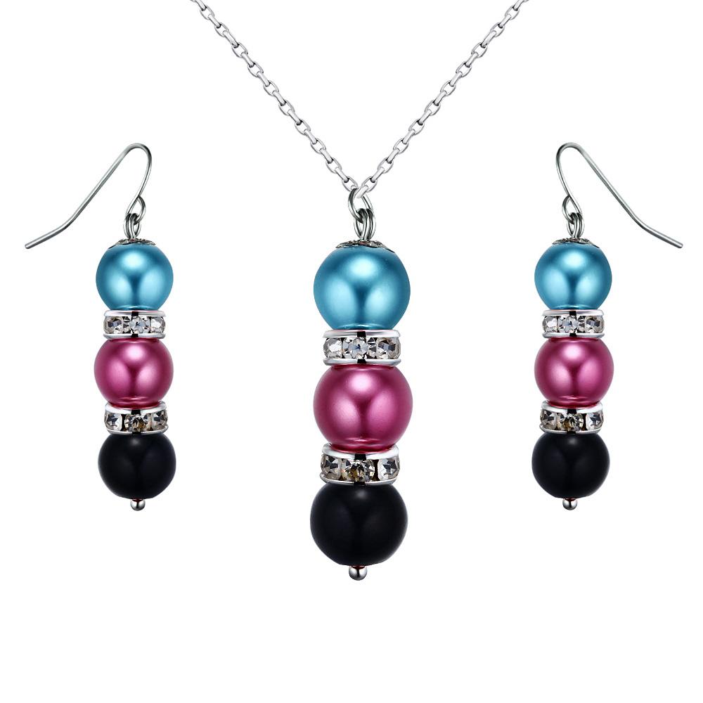Schmucksets - Schmuckset Halskette und Hänge Ohrringe mit mehrfarbigenn Perlen und weißen Kristallen  - Onlineshop Blue Pearls